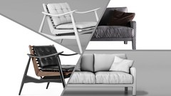 Sofa and chair modeling in Cinema 4D to the highest standards with emphasis on details and …