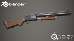 Model and Texture the Pump Shotgun from the popular game Fortnite in Blender and Substance Painter