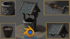 Learn to model, UV-unwrap, texture & render a basic game-ready well in Blender 2.8