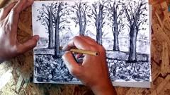 Imágen de Dibujo con barras de carboncillo y lápiz de carbón prensado.