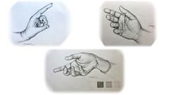 Realistic pencil sketch of a human hand