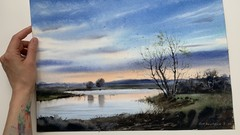 How to paint a watercolor lanscape. Tree by the river