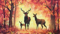 Acrylic lesson - Deer family in the Fall forest - Landscape