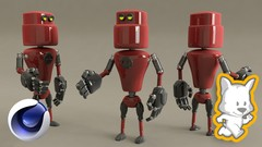 Model, texture and render a cool 3D robot in Cinema 4D.