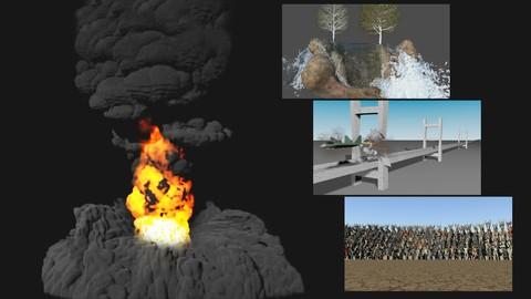 MEGA PACK 4 en1 - VFX con Maya, Bifrost Bullet Golaem Fluids