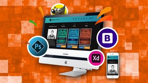 Web Design com Adobe XD, Bootstrap, GIMP, HTML e Photoshop