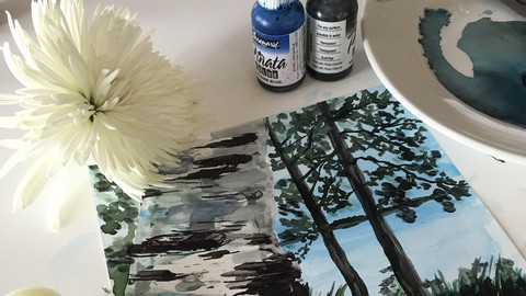 How to paint with Alcohol inks - Birch Tree and Flowers