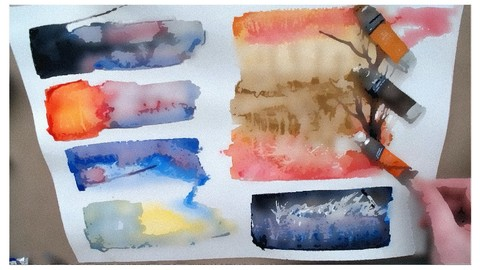 My 7 color watercolor palette sorted specially for beginners