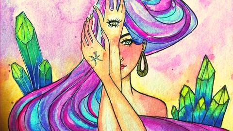 Netcurso-pisces-dreamer-watercolor-manga-portrait-painting