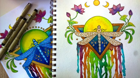 Netcurso-paint-and-draw-a-colorful-rainbow-dragonfly-with-watercolors