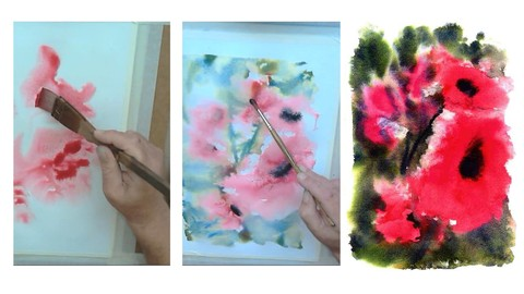 Free hand poppies,Free style watercolor Free sample course.