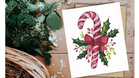 Netcurso-easy-christmas-themed-watercolor-painting-course