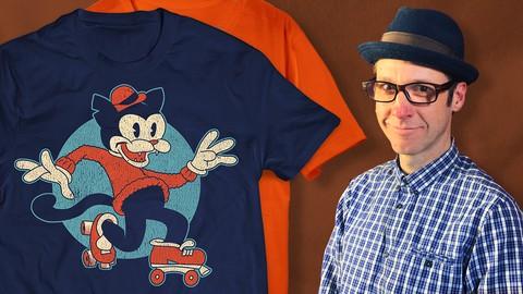 Illustrate a Vintage T-shirt Design in Clip Studio Paint
