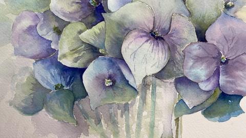 Paint stunning watercolour hydrangea with Kathy Karas