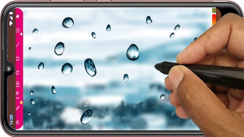 Netcurso-learn-to-draw-water-droplets-on-a-window-digital-drawing