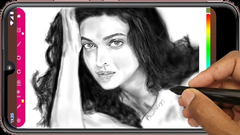 Netcurso-learn-to-draw-a-portrait-using-the-shade-brush-of-paintology