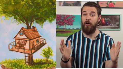 Watercolor Painting tree house Super Easy course