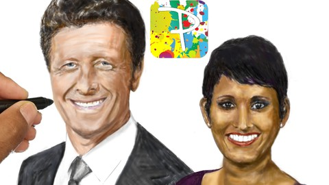 Draw a digital portrait using the Paintology drawing app