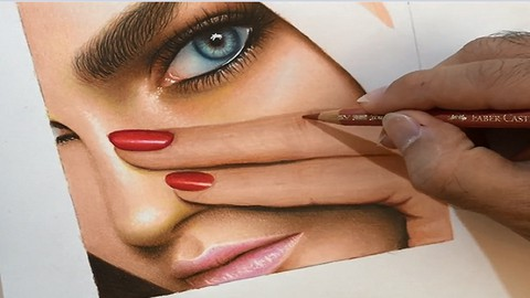 Realistic Colored Pencil Drawing: Face Drawing Of Woman