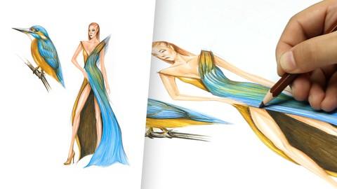 Hummingbird Inspired Evening Dress Design