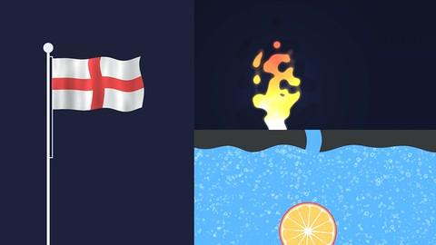 Netcurso-fire-waving-flag-pouring-liquid-and-bubbles