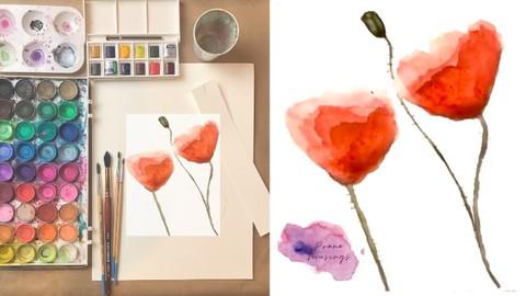 No sketch watercolor poppies