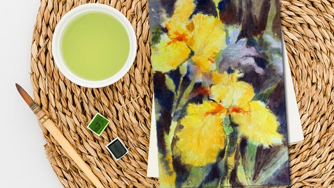 Netcurso-irises-in-watercolor-how-to-paint-flowers-in-a-loose-style