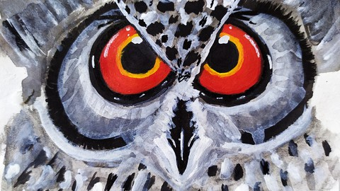 Netcurso-how-to-make-an-owl-bird-painting-with-acrylic-and-watercolor