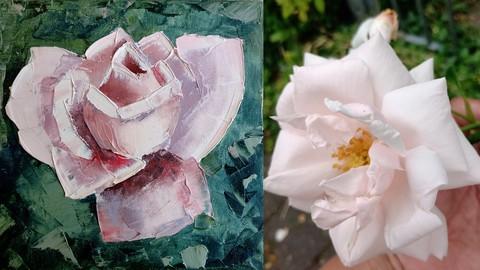 Netcurso-palette-knife-technique-painting-a-realistic-rose-impasto
