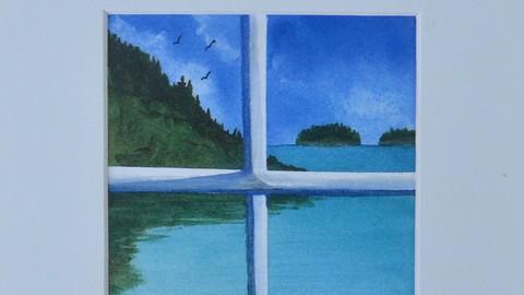 Watercolor Course Paint this Window Seascape