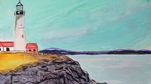 Paint and Create A Lighthouse with Alcohol Ink in Easy Steps