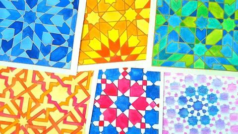 Draw & Paint Islamic Patterns: Eightfold Islamic Geometry