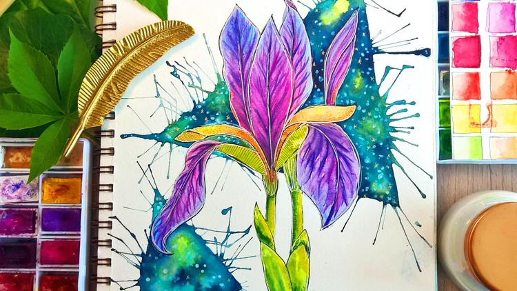 Easy Watercolor Iris Flower Painting with Galaxy Background