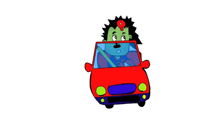 Simple Cartoon Drawing Course : a Kid driving a Toy Car