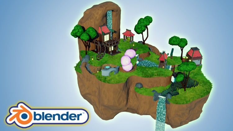 Blender 3D Model a Ghibli Art Stylized Scene