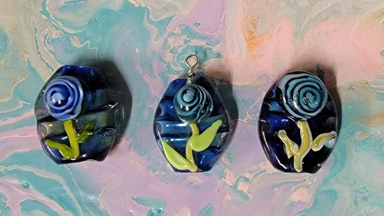 Lampwork Glass Rose Implosion Pendant