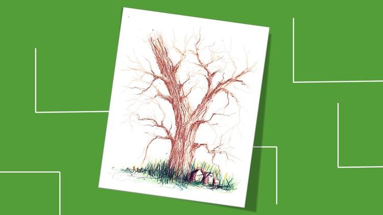 رسم شجرة بدون اوراق بألوان الخشب - English Subtitled